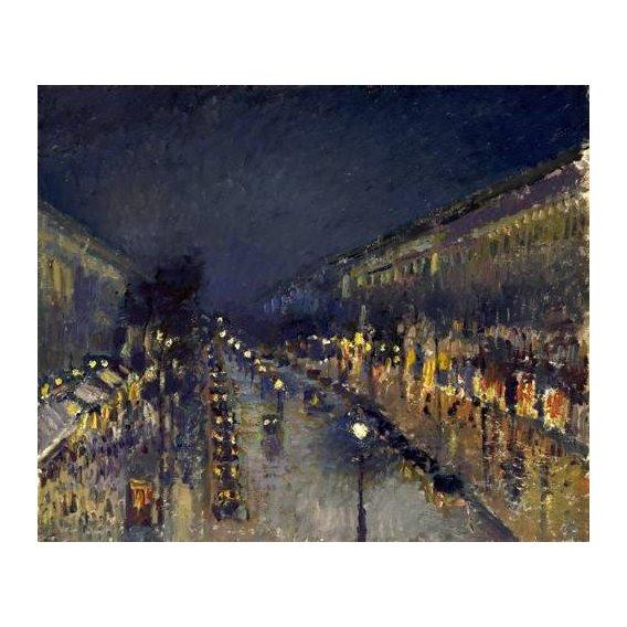 pinturas de paisagens - Quadro -The Boulevard Montmartre at Night, 1897-
