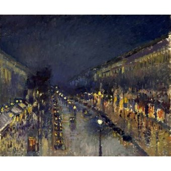 - Quadro -The Boulevard Montmartre at Night, 1897- - Pissarro, Camille