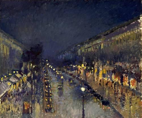 quadros-de-paisagens - Quadro -The Boulevard Montmartre at Night, 1897- - Pissarro, Camille