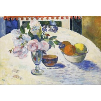 naturezas mortas - Quadro -Flowers and a Bowl of Fruit on a Table, 1894- - Gauguin, Paul