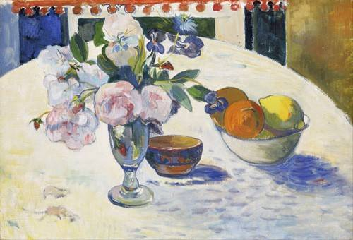 naturezas-mortas - Quadro -Flowers and a Bowl of Fruit on a Table, 1894- - Gauguin, Paul