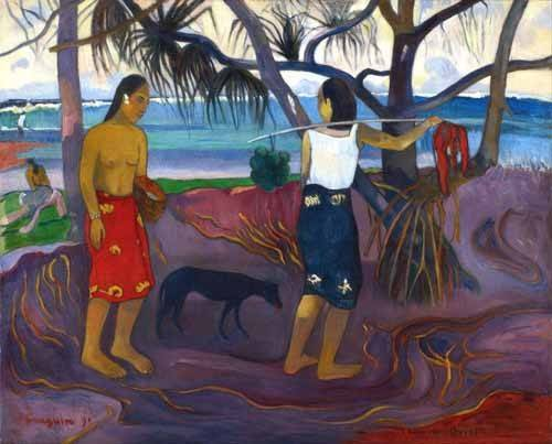 quadros-de-paisagens - Quadro -I Raro Te Oviri (Under the Pandanus)- - Gauguin, Paul