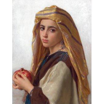 pinturas de retratos - Quadro -Girl with a pomegranate- - Bouguereau, William