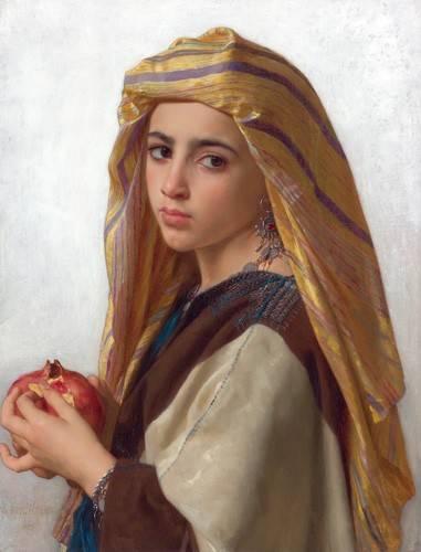 pinturas-de-retratos - Quadro -Girl with a pomegranate- - Bouguereau, William