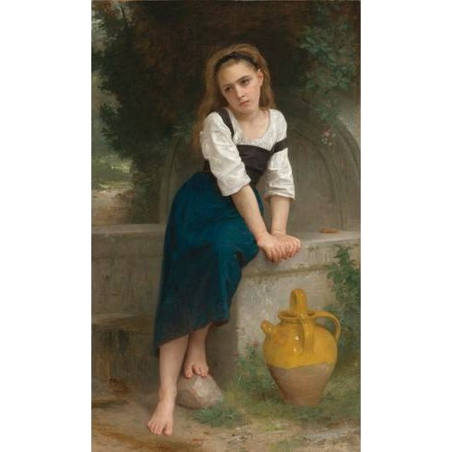 pinturas do retrato - Quadro -Orphan by the Fountain, 1883-