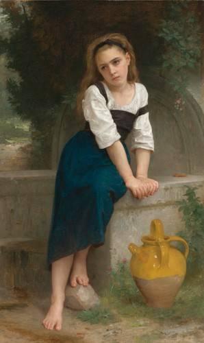 pinturas-de-retratos - Quadro -Orphan by the Fountain, 1883- - Bouguereau, William