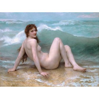 quadros nu artistico - Quadro -The Wave, 1896- - Bouguereau, William