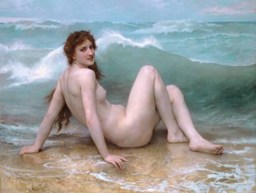 quadros-nu-artistico - Quadro -The Wave, 1896- - Bouguereau, William