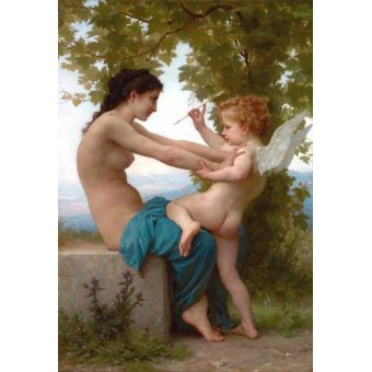 quadros nu artistico - Quadro -A Young Girl Defending Herself against Eros, 1880- - Bouguereau, William