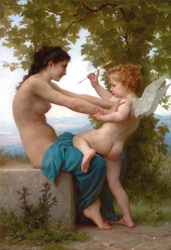 quadros-nu-artistico - Quadro -A Young Girl Defending Herself against Eros, 1880- - Bouguereau, William