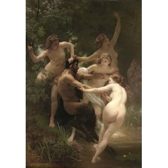 quadros nu artistico - Quadro -Nymphs and Satyr, 1873- - Bouguereau, William