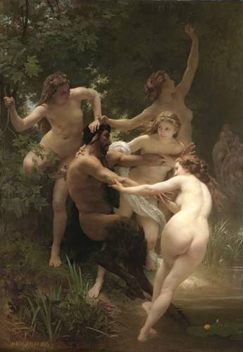 quadros-nu-artistico - Quadro -Nymphs and Satyr, 1873- - Bouguereau, William