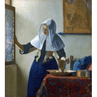 - Quadro -Young Woman with a Water Pitcher, 1662- - Vermeer, Johannes