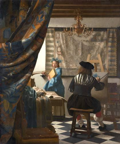 pinturas-de-retratos - Quadro -The Art of Painting- - Vermeer, Johannes