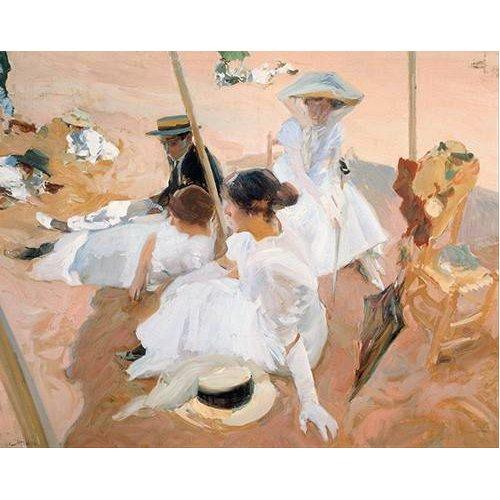 pinturas do retrato - Quadro -Bajo el toldo, en la playa de Zarauz-