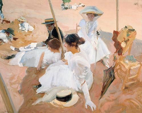 pinturas-de-retratos - Quadro -Bajo el toldo, en la playa de Zarauz- - Sorolla, Joaquin