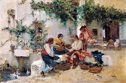 pinturas-de-retratos - Quadro -Vendiendo melones- - Sorolla, Joaquin