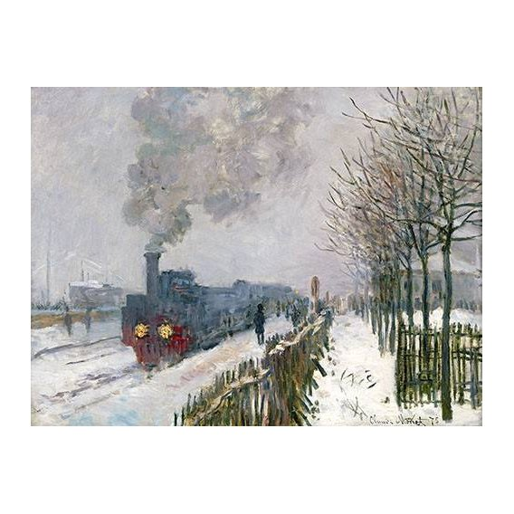pinturas de paisagens - Quadro -Train dans la neige, La Locomotive, 1875-
