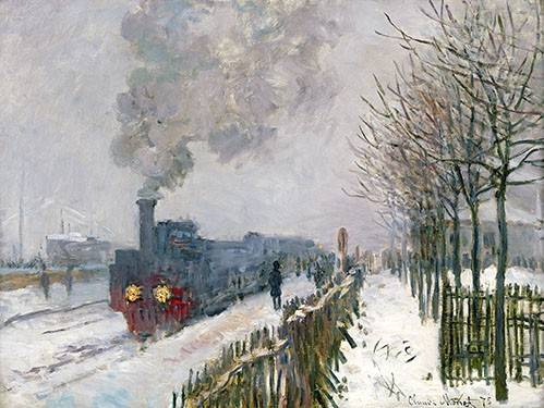 quadros-de-paisagens - Quadro -Train dans la neige, La Locomotive, 1875- - Monet, Claude
