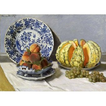 naturezas mortas - Quadro -Nature morte au melon- - Monet, Claude