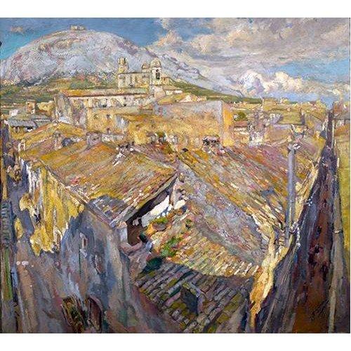 pinturas de paisagens - Quadro -Pueblo en L'Empordá-