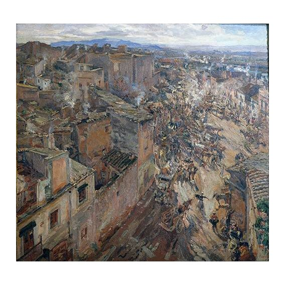 pinturas de paisagens - Quadro -Dia de mercado en Torroella, 1918-