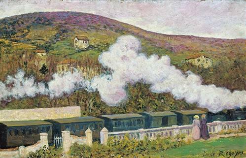 quadros-de-paisagens - Quadro -El paso del tren- - Regoyos, Dario de