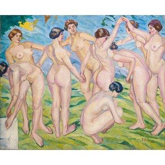 quadros nu artistico - Quadro -Desnudo (mujeres bailando en circulo)- - Iturrino, Francisco