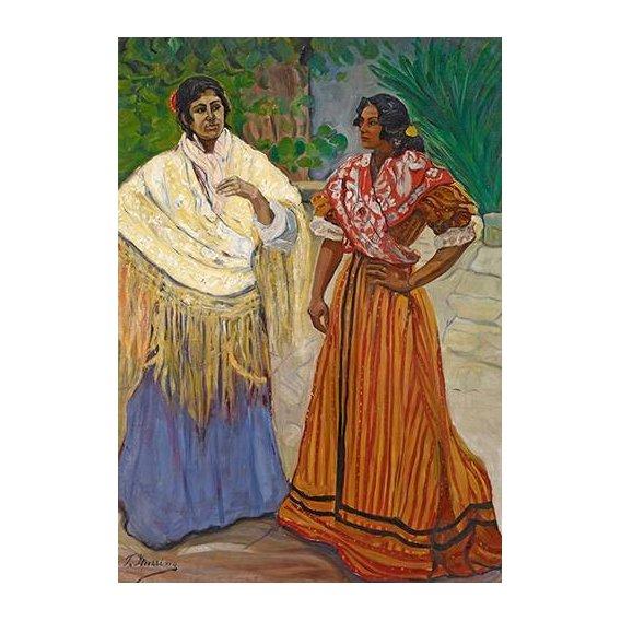 pinturas do retrato - Quadro -Dos Gitanas-