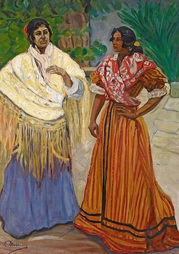 pinturas-de-retratos - Quadro -Dos Gitanas- - Iturrino, Francisco