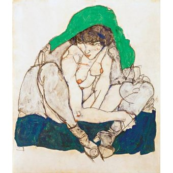 quadros nu artistico - Quadro -Crouching Woman with Green Headscarf, 1914- - Schiele, Egon