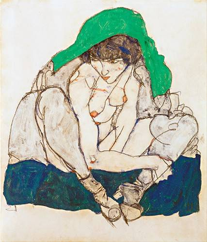 pinturas-de-retratos - Quadro -Crouching Woman with Green Headscarf, 1914- - Schiele, Egon