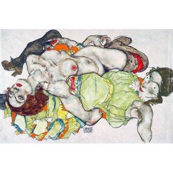 quadros nu artistico - Quadro -Female Lovers, 1915- - Schiele, Egon