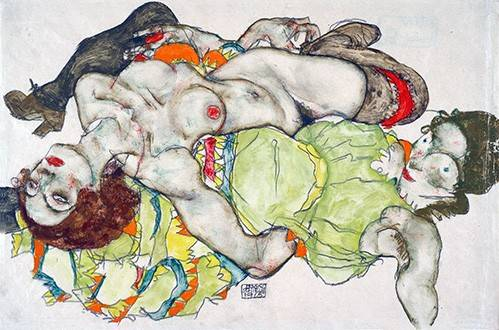 pinturas-de-retratos - Quadro -Female Lovers, 1915- - Schiele, Egon