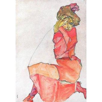 - Quadro -Kneeling Female in Orange-Red_Dress, 1910- - Schiele, Egon