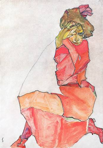 pinturas-de-retratos - Quadro -Kneeling Female in Orange-Red_Dress, 1910- - Schiele, Egon