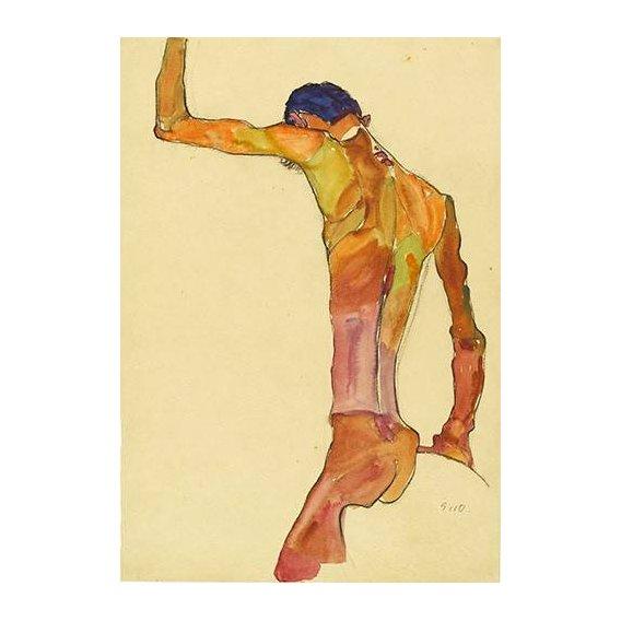 pinturas do retrato - Quadro -Standing Male Nude with Arm Raised Black View, 1910-