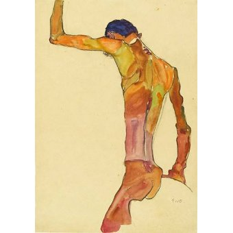 quadros nu artistico - Quadro -Standing Male Nude with Arm Raised Black View, 1910- - Schiele, Egon