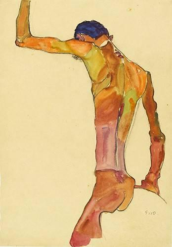 pinturas-de-retratos - Quadro -Standing Male Nude with Arm Raised Black View, 1910- - Schiele, Egon