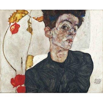 - Quadro -Self-Portrait with Physalis- - Schiele, Egon