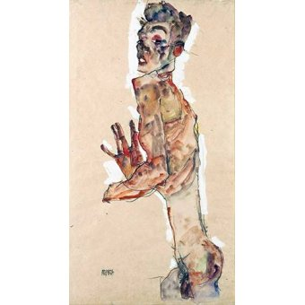 quadros nu artistico - Quadro -Self-Portrait with Splayed Fingers- - Schiele, Egon