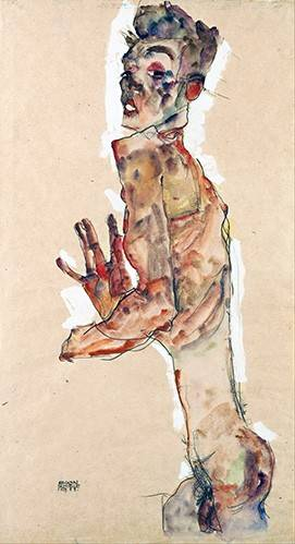 pinturas-de-retratos - Quadro -Self-Portrait with Splayed Fingers- - Schiele, Egon
