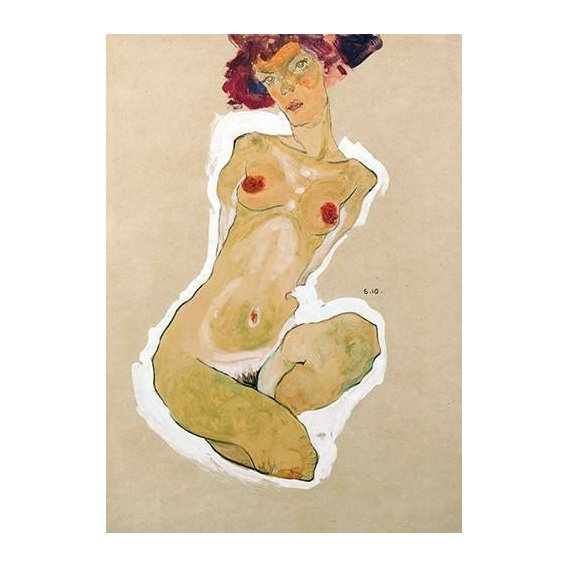 pinturas do retrato - Quadro -Squatting Female Nude-