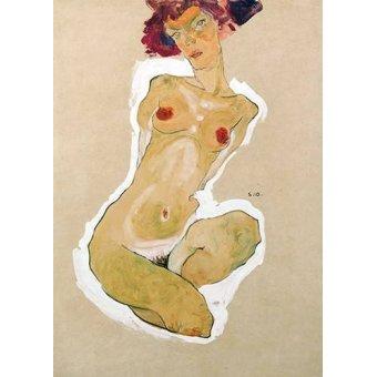quadros nu artistico - Quadro -Squatting Female Nude- - Schiele, Egon