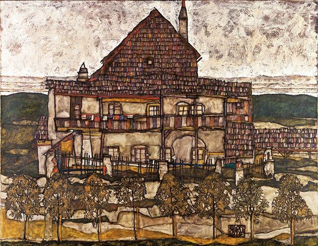 quadros-de-paisagens - Quadro -House with Shingle Roof (Old House II), 1915- - Schiele, Egon