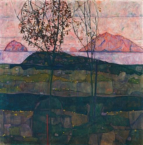 quadros-de-paisagens - Quadro -Setting Sun, 1913- - Schiele, Egon