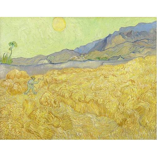 pinturas de paisagens - Quadro -Wheatfield with a Reaper, 1890-