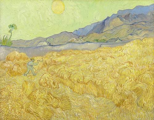 quadros-de-paisagens - Quadro -Wheatfield with a Reaper, 1890- - Van Gogh, Vincent