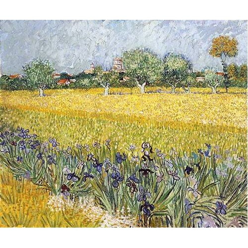 Quadro -Field with flowers near Arles, 1888-