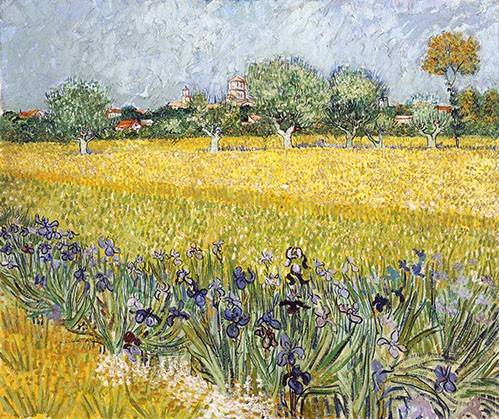 quadros-de-paisagens - Quadro -Field with flowers near Arles, 1888- - Van Gogh, Vincent